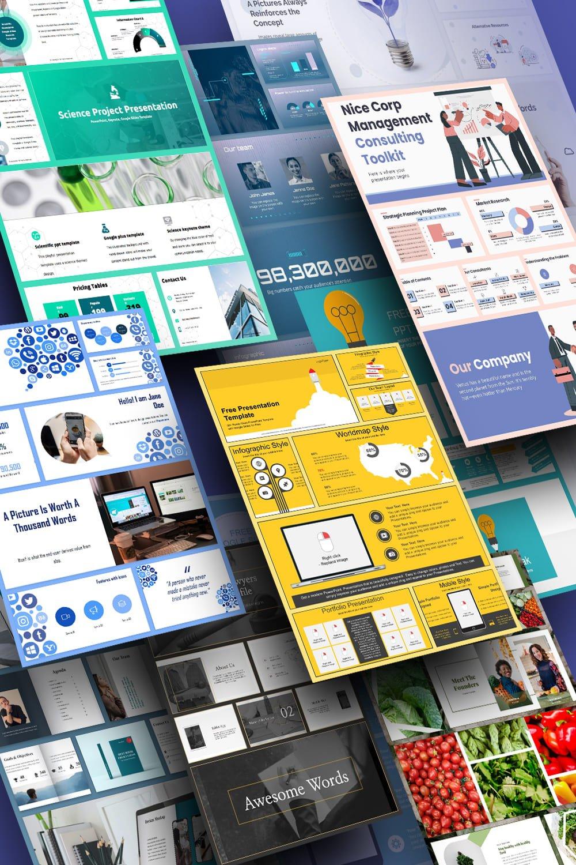 Minimalist PowerPoint Templates. Pinterest Collage.