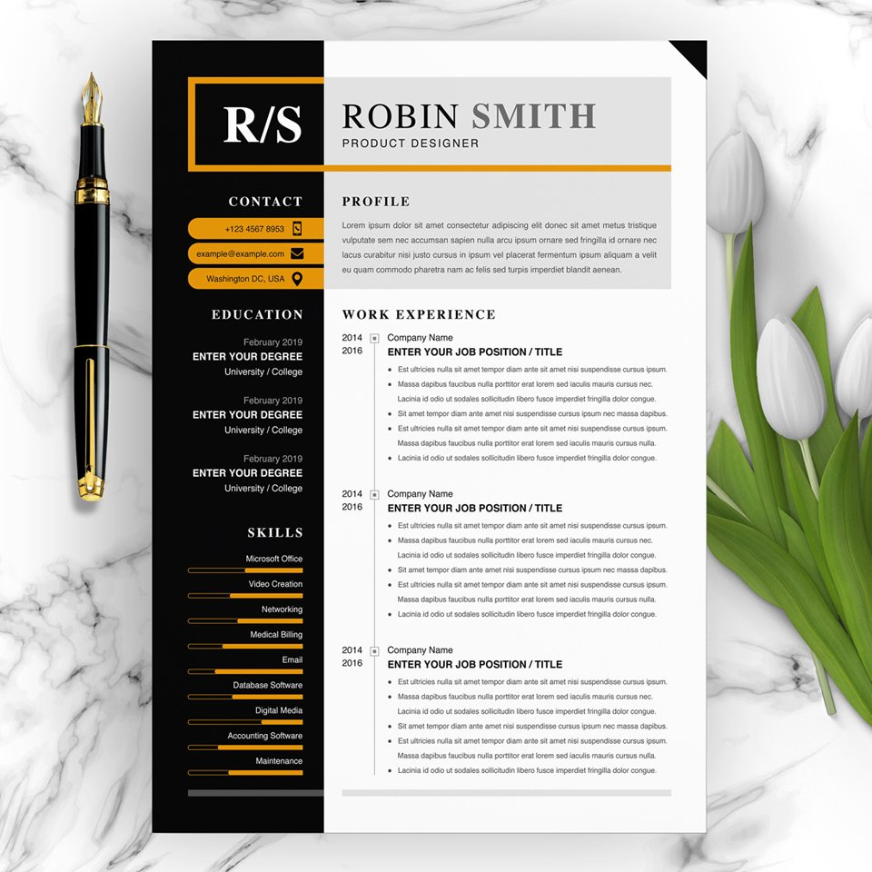 A general view of the template. Product Designer Resume.