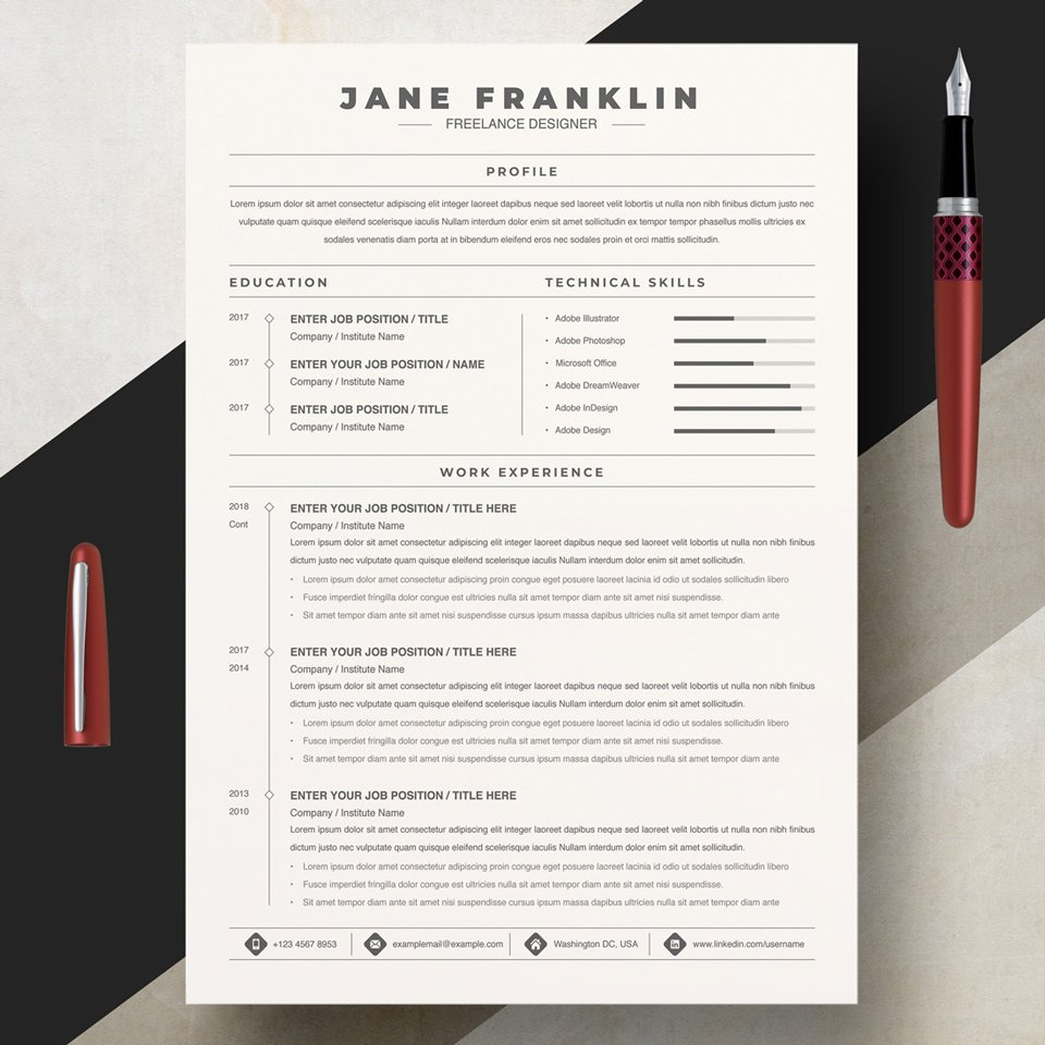 A general view of the template. Experienced Freelance Editor Resume Template.