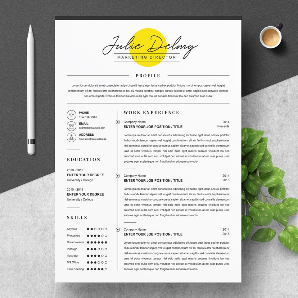 A general view of the template. Marketing Director Resume .