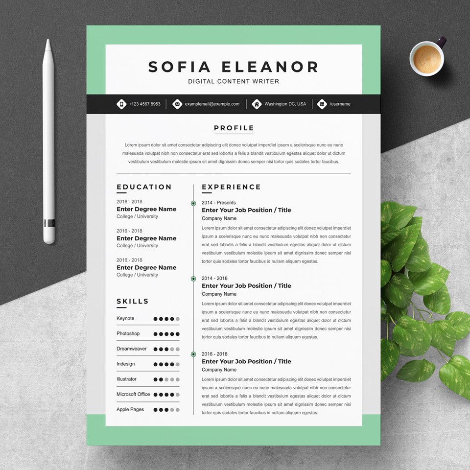 A beautiful, interactive resume with minty hues.