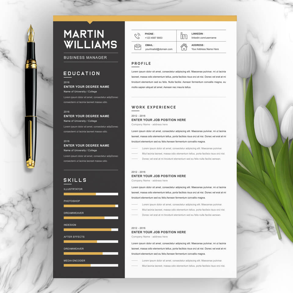 A general view of the template. Resume Word/CV Word.