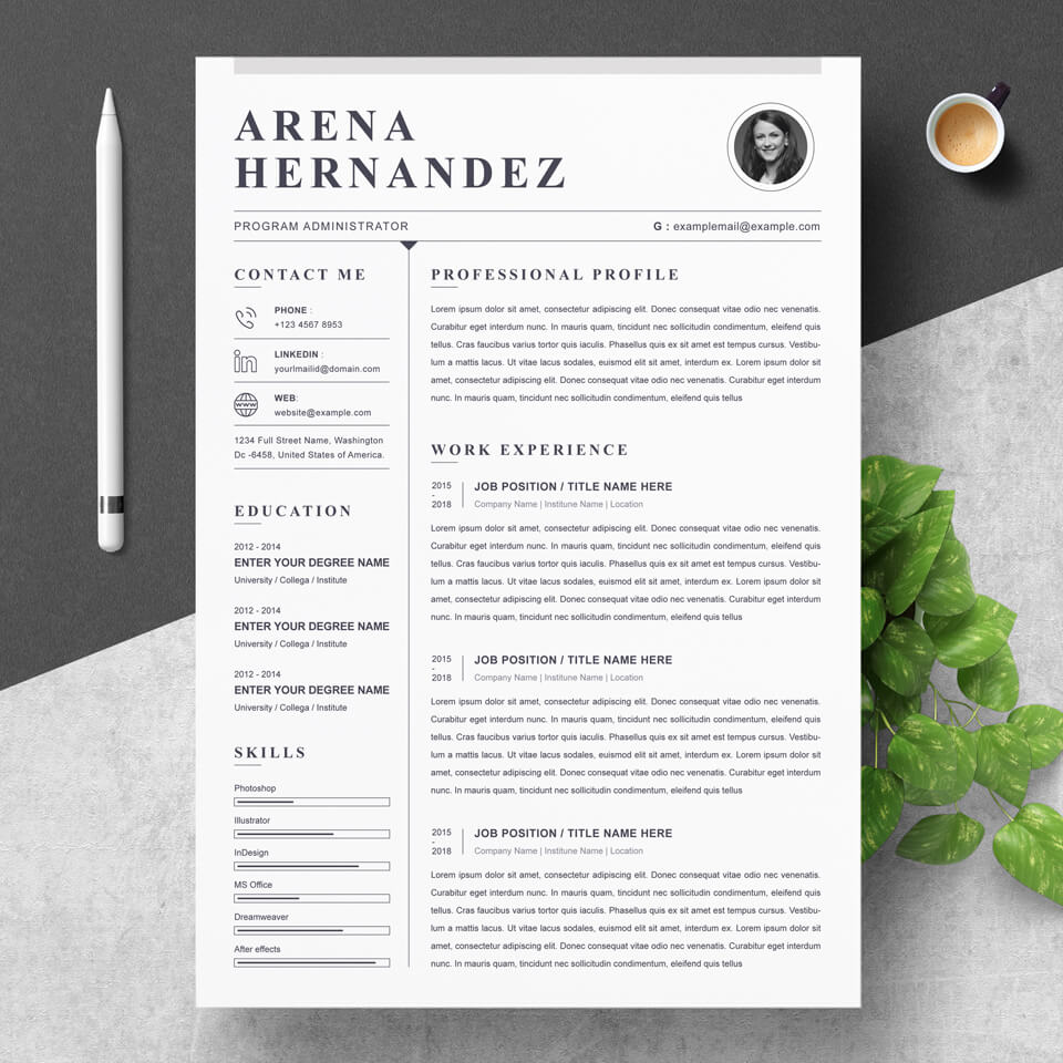 Resume home page. Created in a classic style without unnecessary colors.