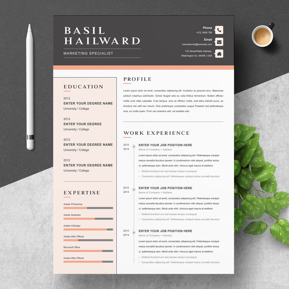 A calm, beautiful and stylish resume. Color accents are placed on the most important elements.