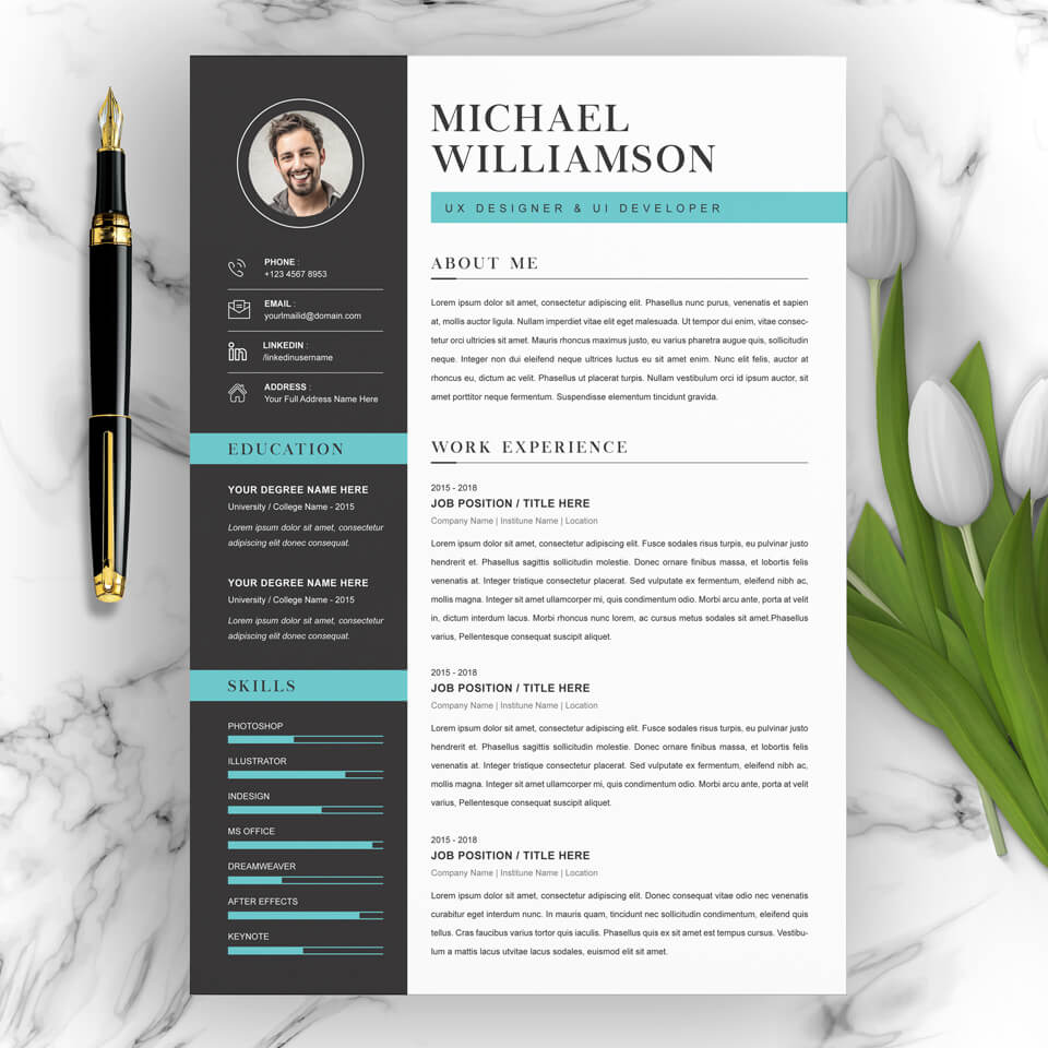 Simple resume template example.