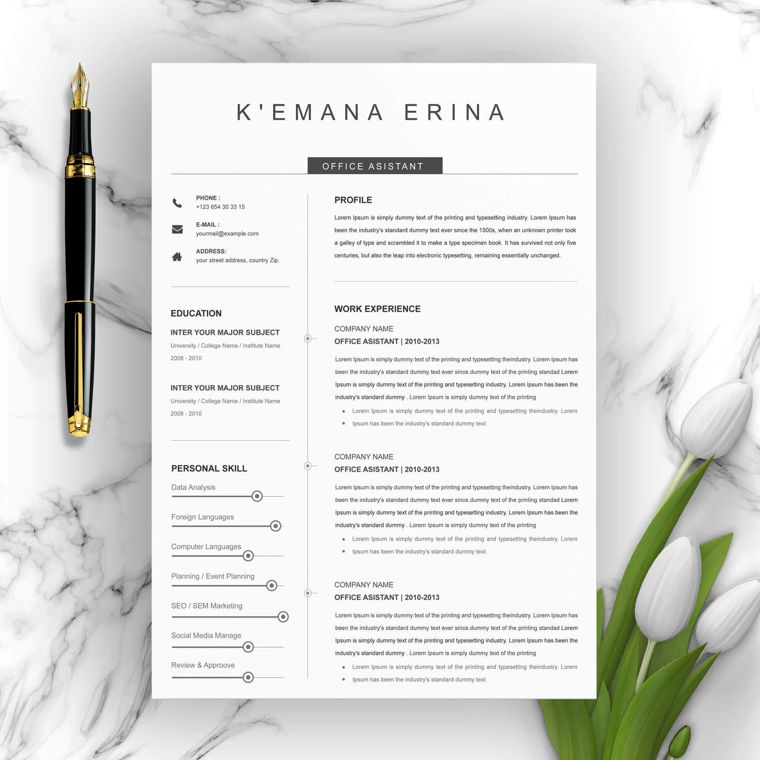 Light and delicate resume template.