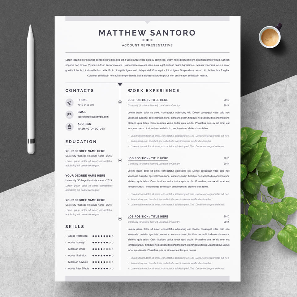 A general view of the template. Resume Cover Letter Template.
