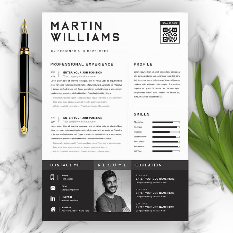 A general view of the template. CV Design .