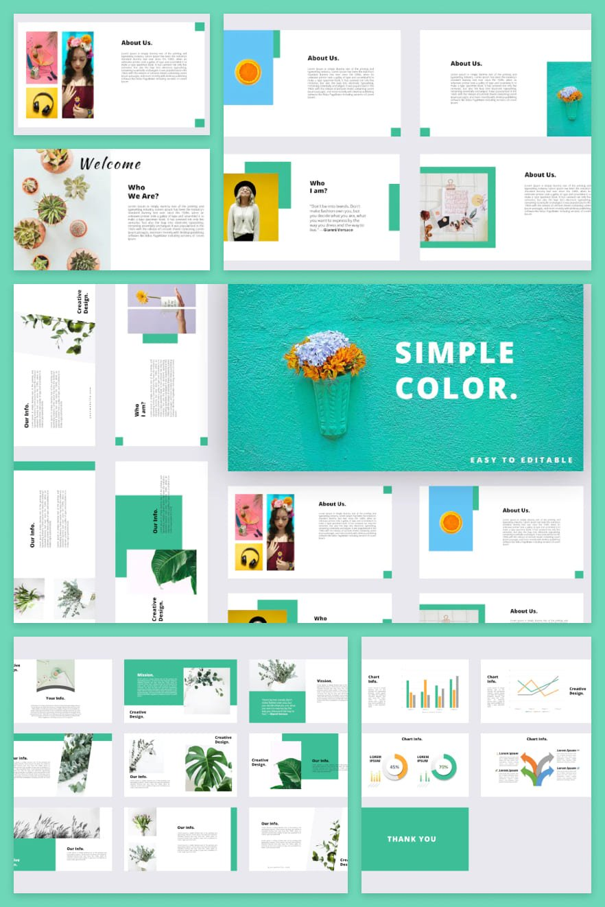 Volumetric template in turquoise color. It brings spring and freshness from it. Consists of text and infographics. Convenient business solution.