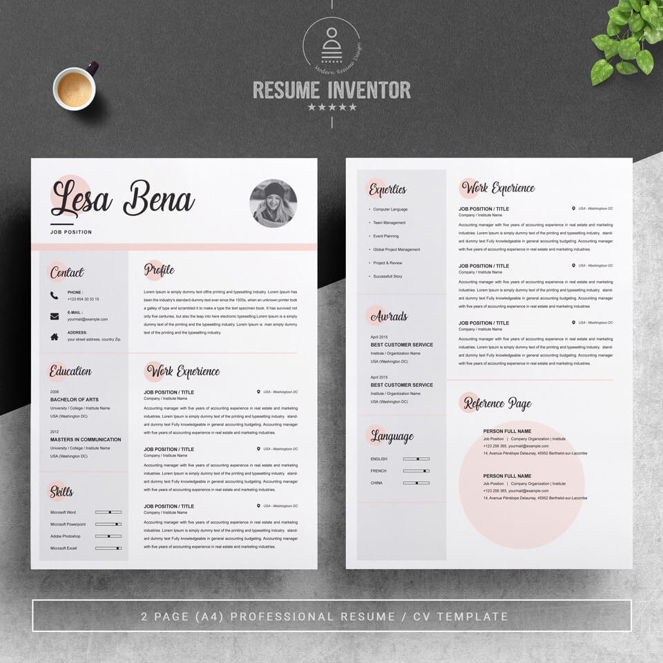 Two pages of resume. Curriculum Vitae [CV].