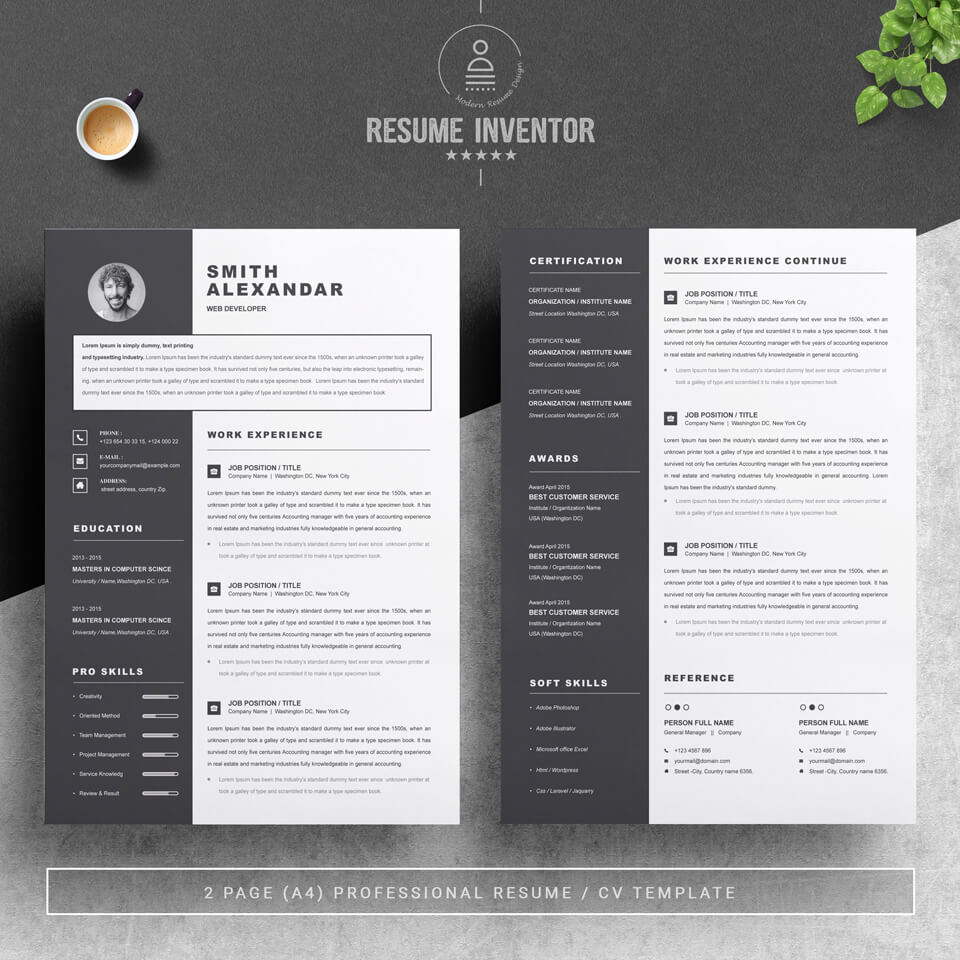 Two pages of resume. Modern Resume Template.