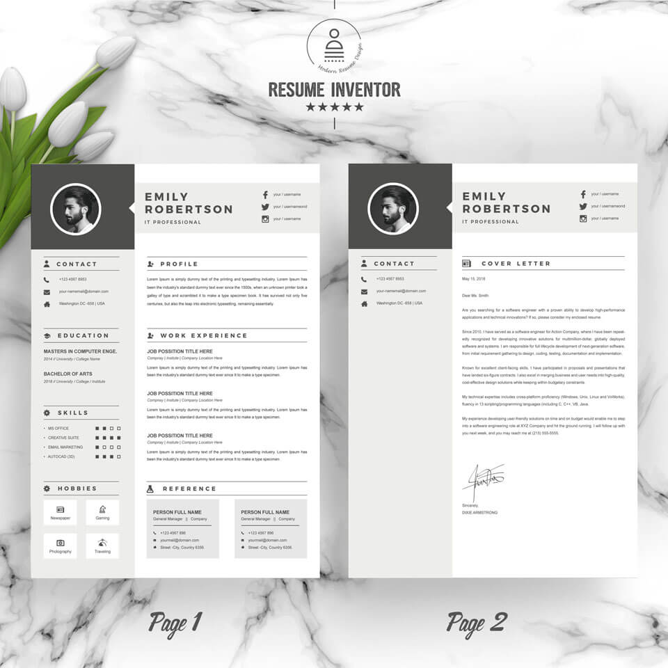 Two page template showing education and work experience.