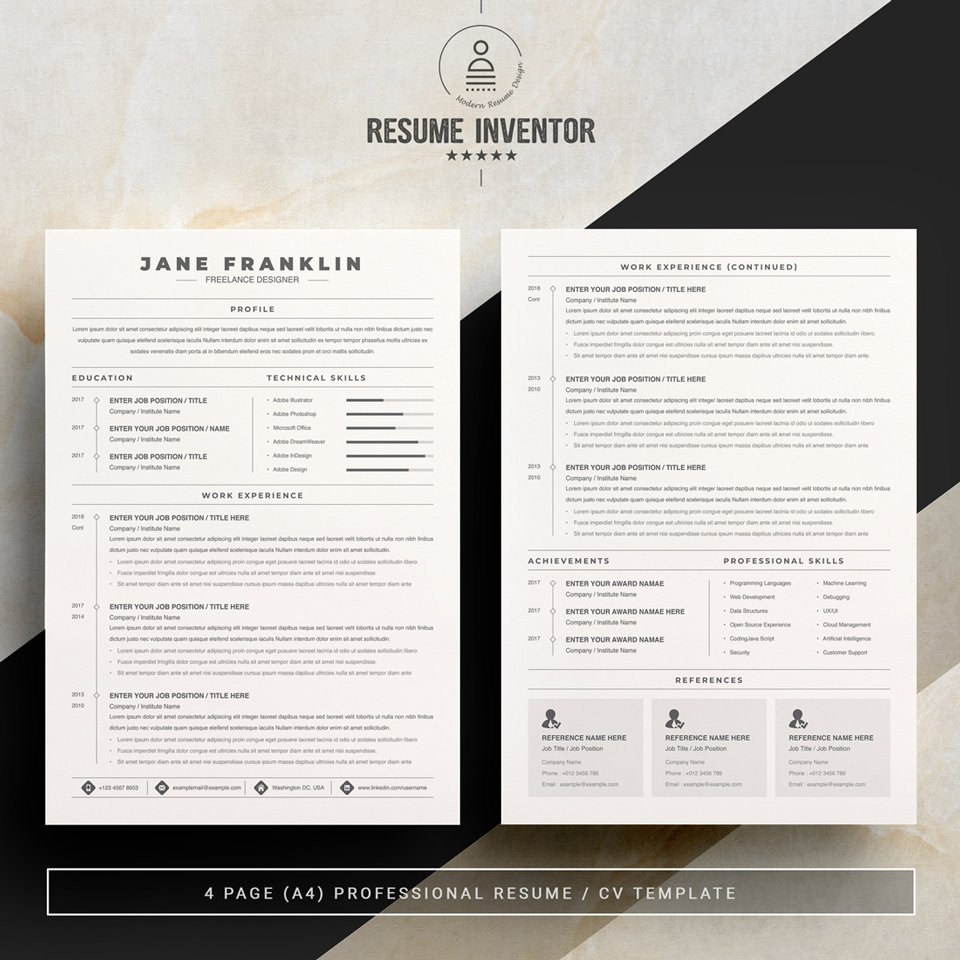 Two pages of resume. Experienced Freelance Editor Resume Template.