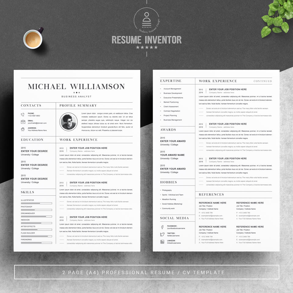 A general view of the template. Creative Resume Template.