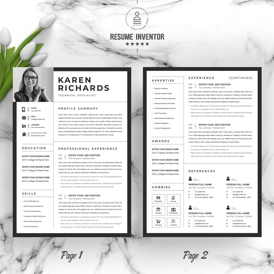 A general view of the template. Curriculum Vitae .