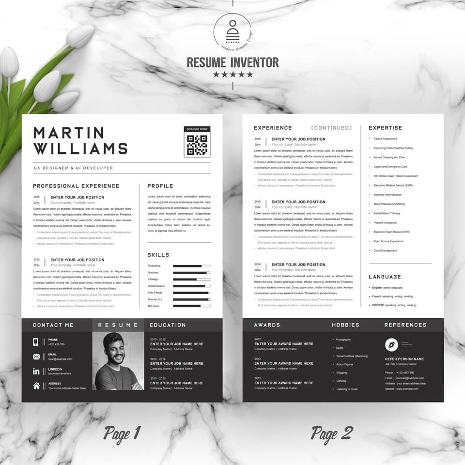 Three pages of resume. CV Design.