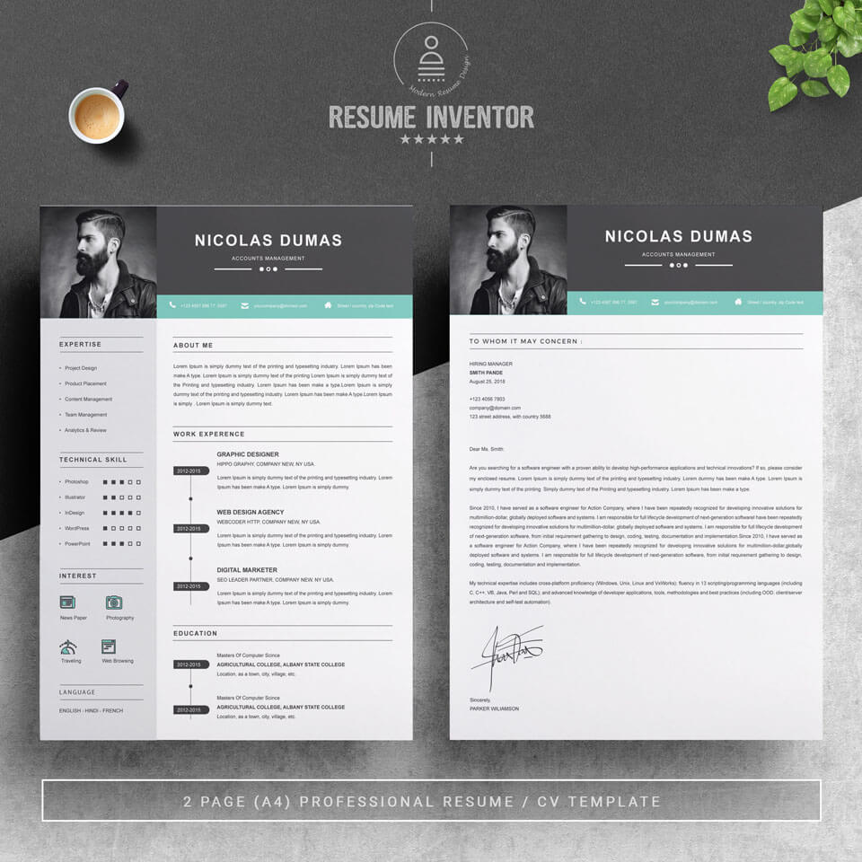 The two main pages are the first and the cover letter. The template itself was created in a modern design with infographic elements.