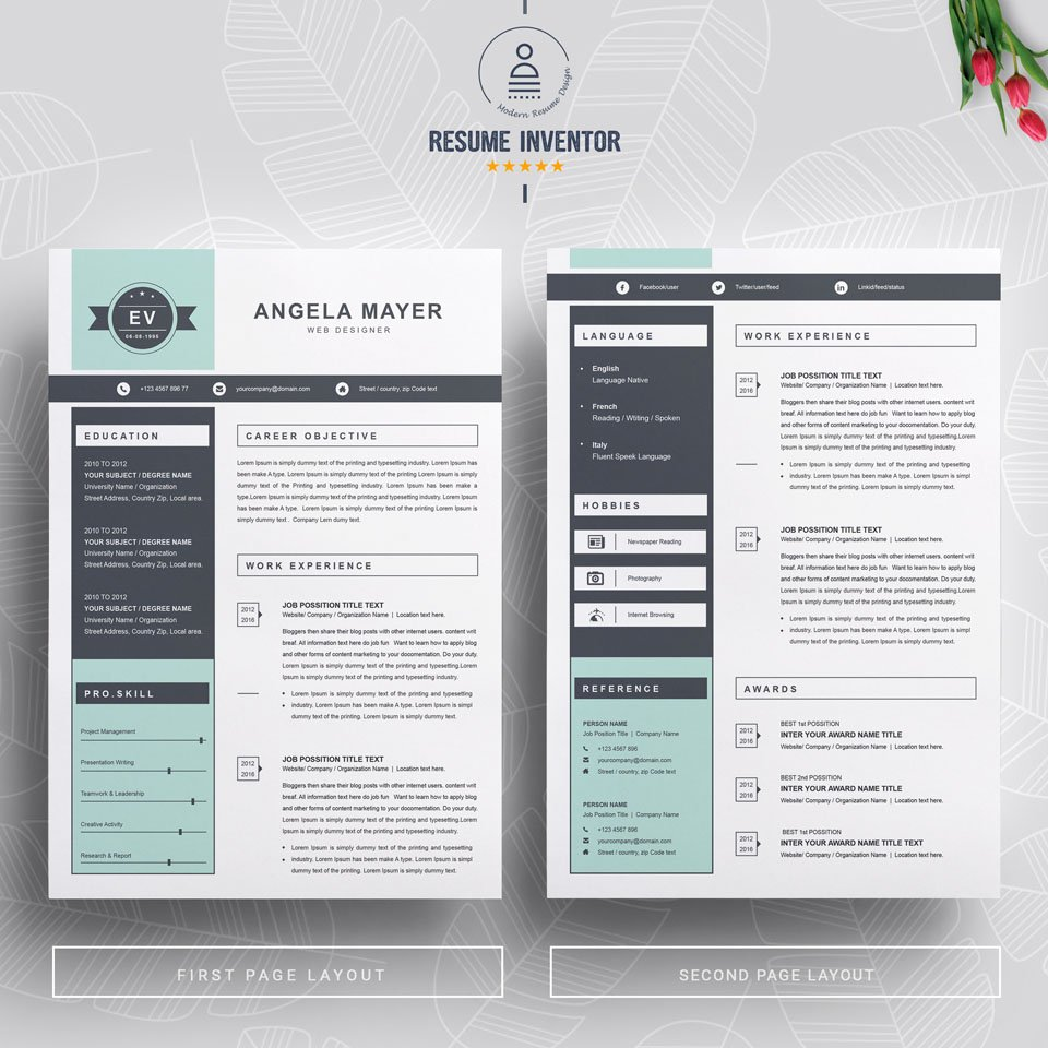 Two pages of this pattern. New Resume Template.