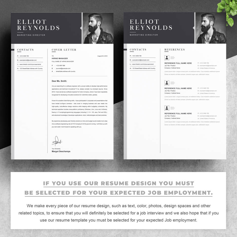 Two pages of this pattern.CV Resume Design.