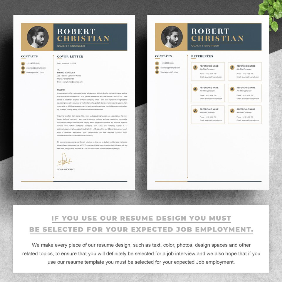 Two pages of resume. QA Resume Template.