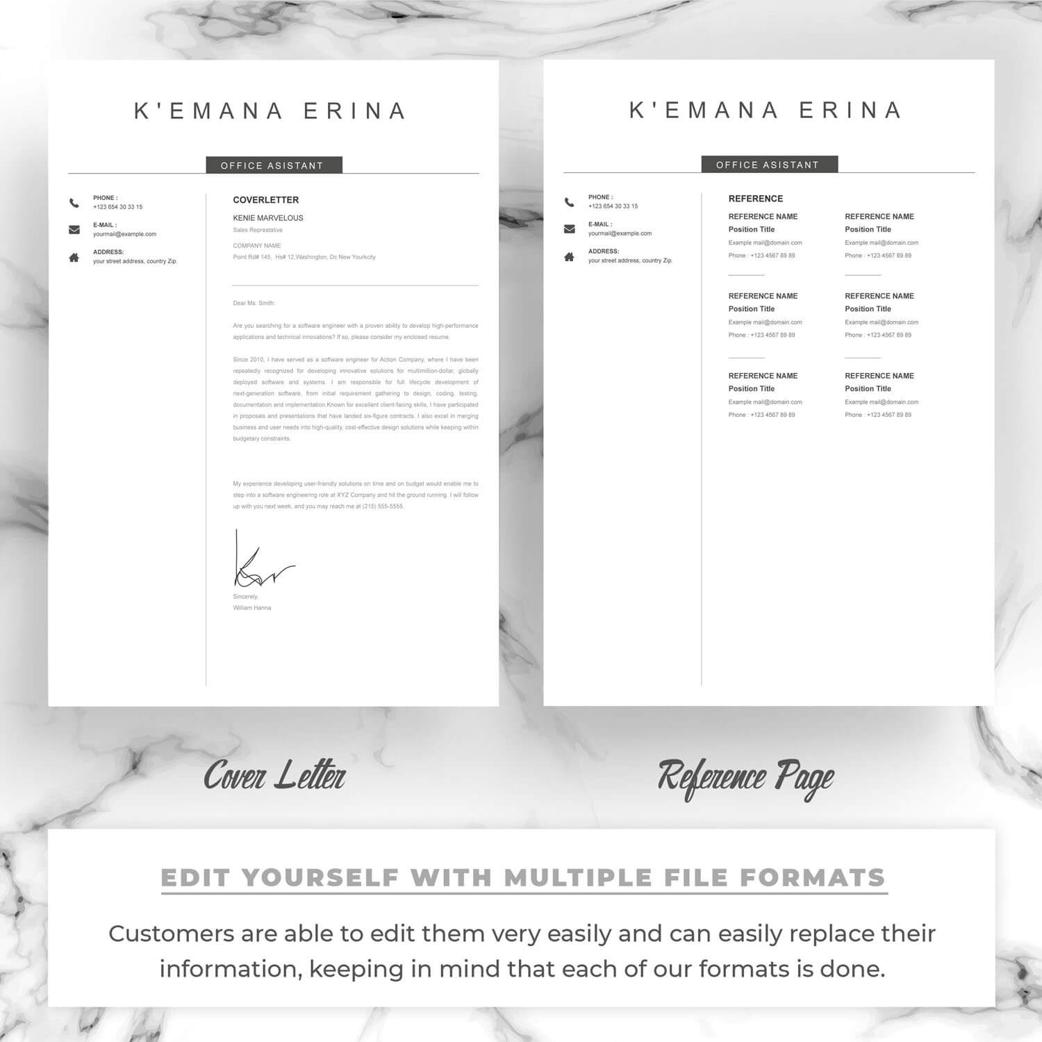 Shown here are two additional pages - a cover letter and references from previous jobs.