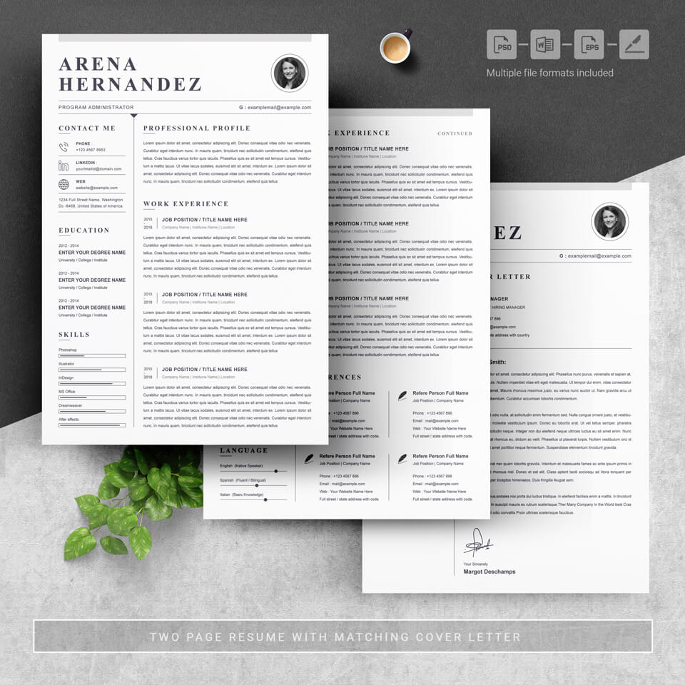 Shows a general view of the three pages of the template.