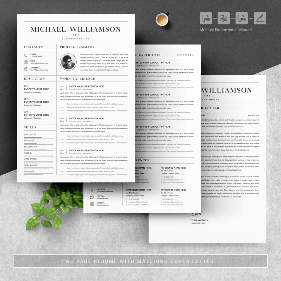 Three pages of resume. Creative Resume Template.