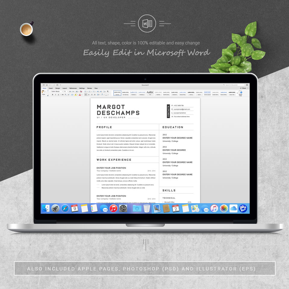 Desktop option of resume template. Resume Word/CV Word.