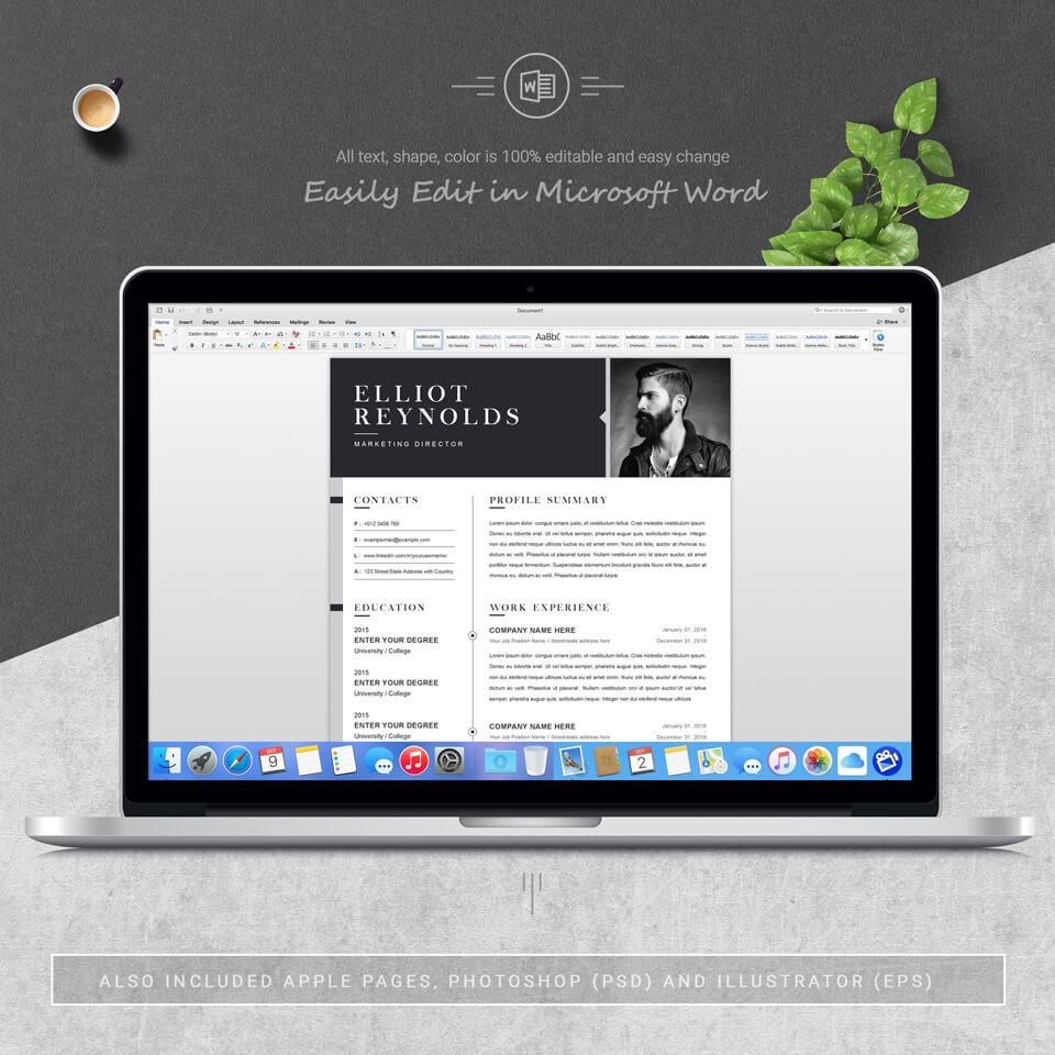 Desktop option of this template. CV Resume Design.
