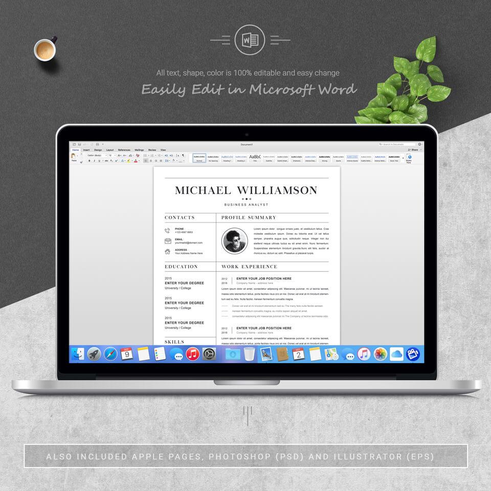PC display of resume. Creative Resume Template.