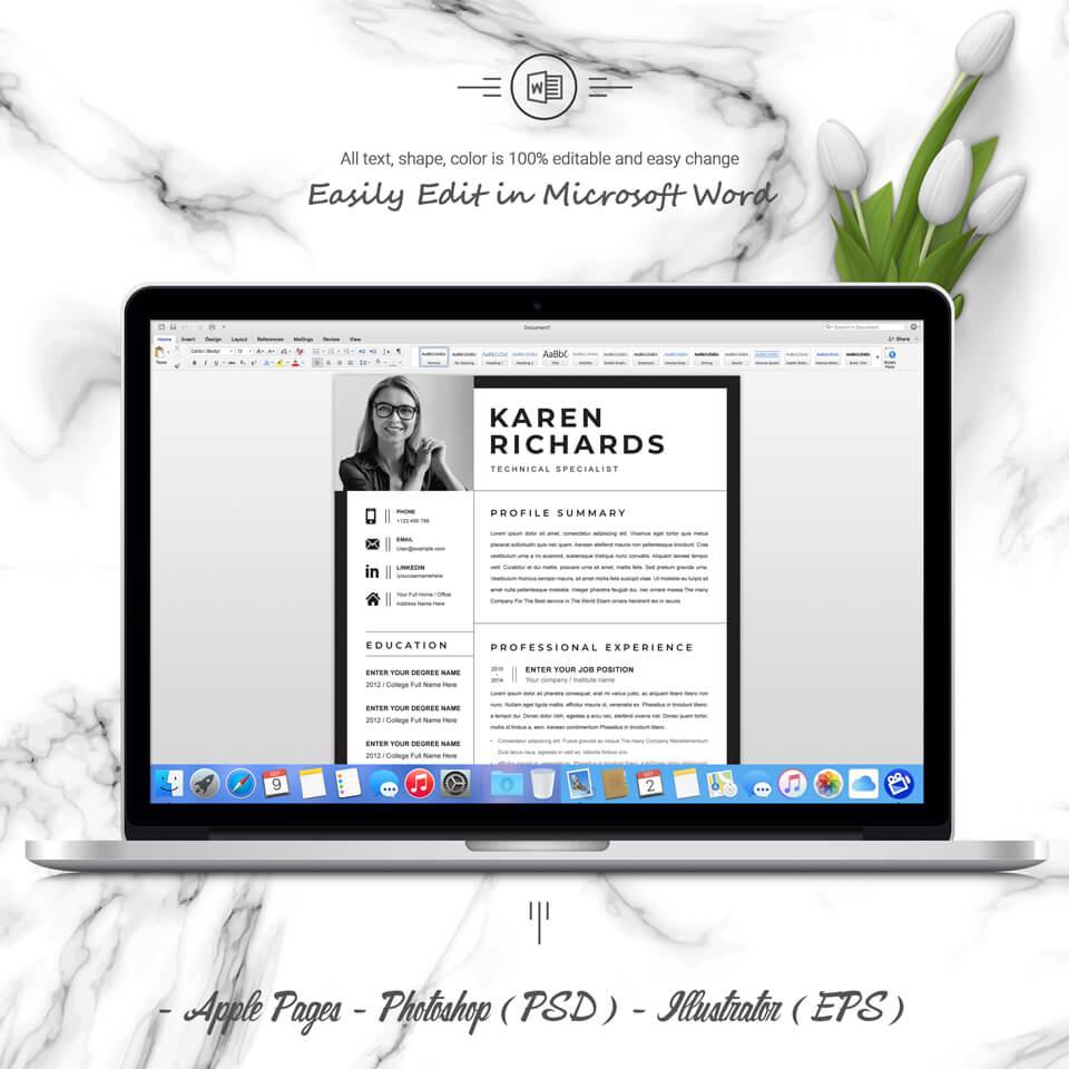 Desktop option of resume. Curriculum Vitae.