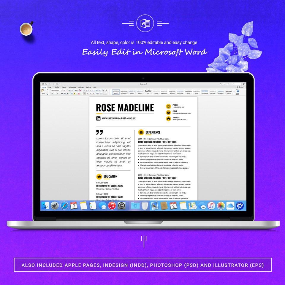 A desktop option. Basic CV Template.