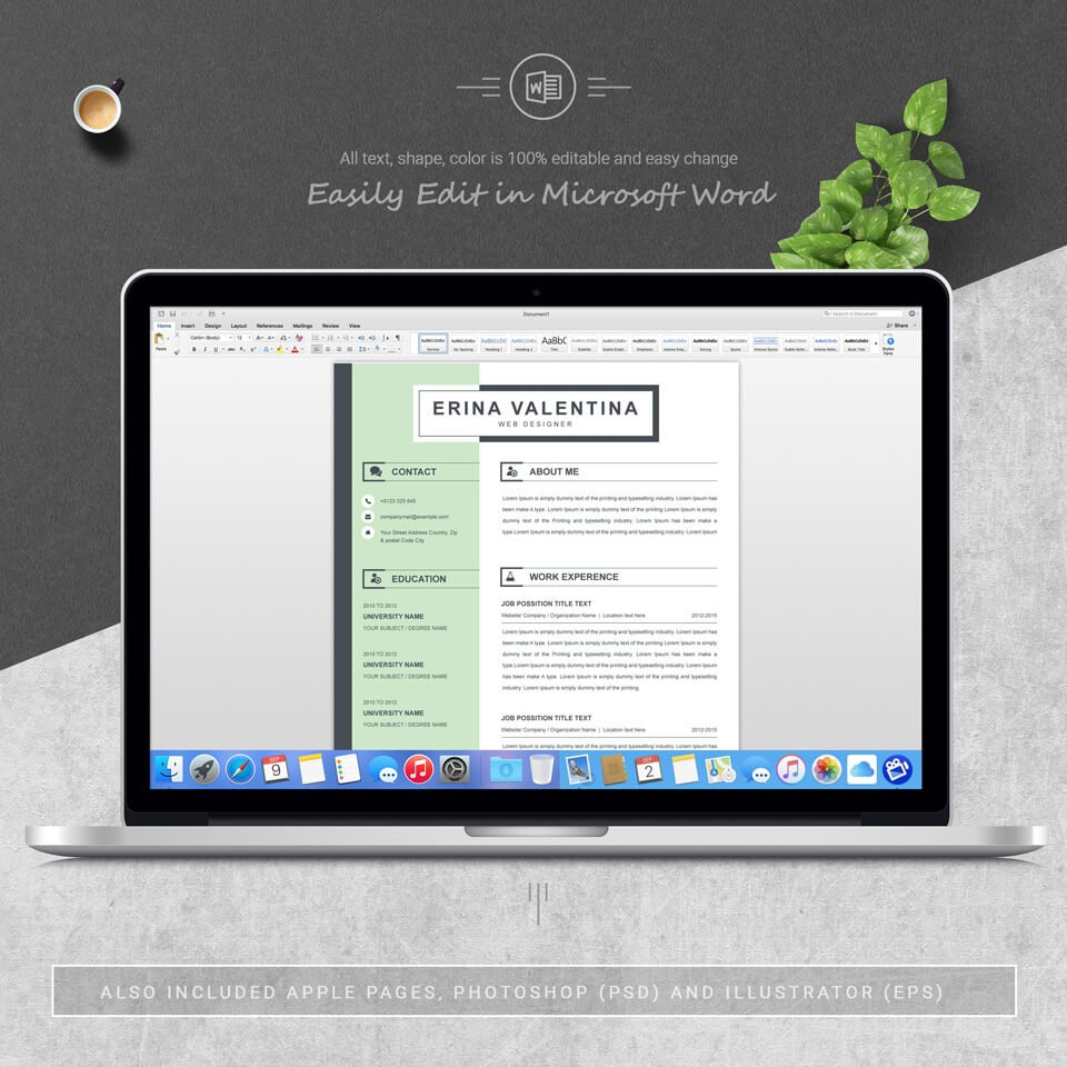 Desktop option of this template. Word Resume CV Template With Cover Letter.