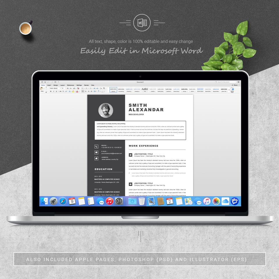 A desktop option. Modern Resume Template.