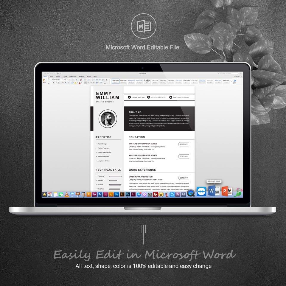 Desktop option of this template. Creative Resume Design.