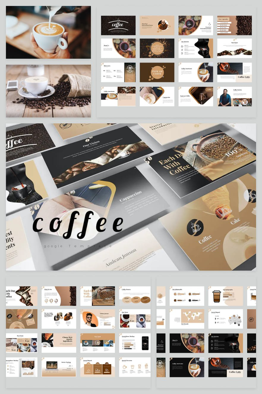 This theme is perfect for coffee lovers. The warm colors of the template convey the scent of this aromatic drink. With such a presentation, you will be able to create a special atmosphere.