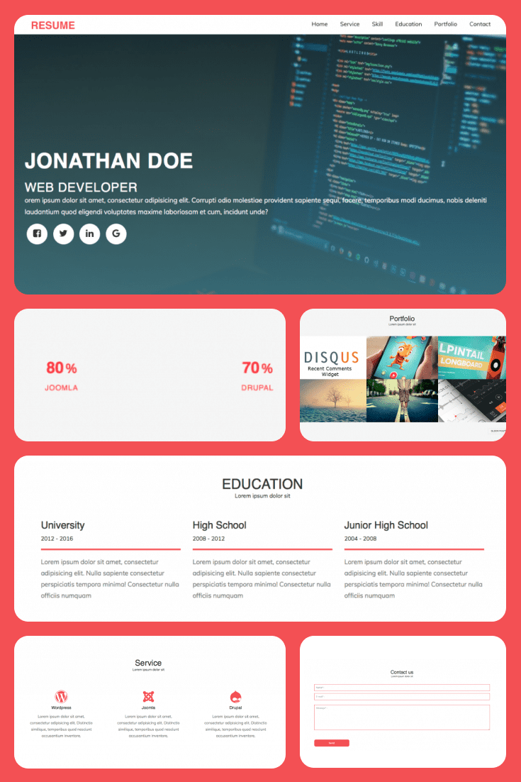 Bright red accents on blocks will make your portfolio look extraordinary and unique.