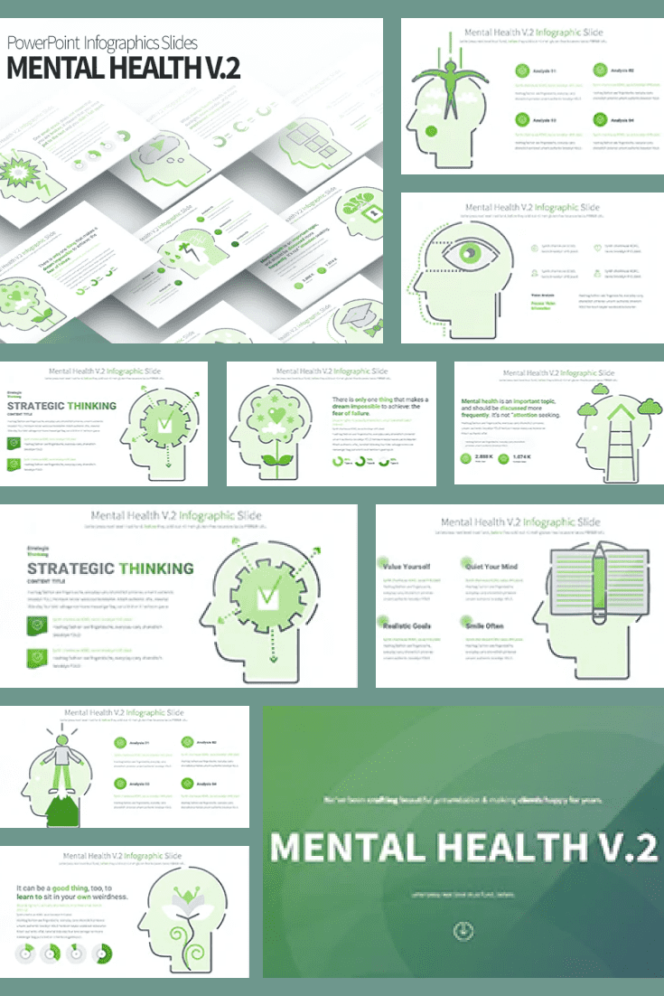 A light green theme color emphasizes the eco-friendly style and topic of your presentation. The template contains a lot of information, which is intelligently divided into blocks.
