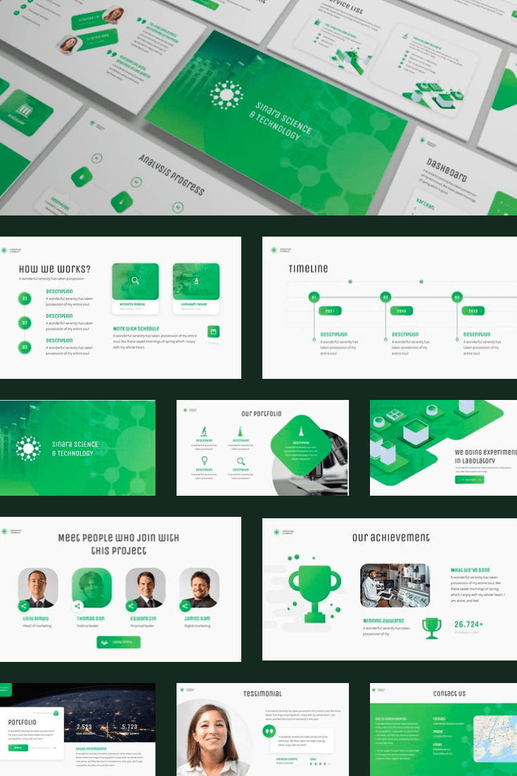 Green and expansive theme. The color scheme emphasizes the originally stated theme.