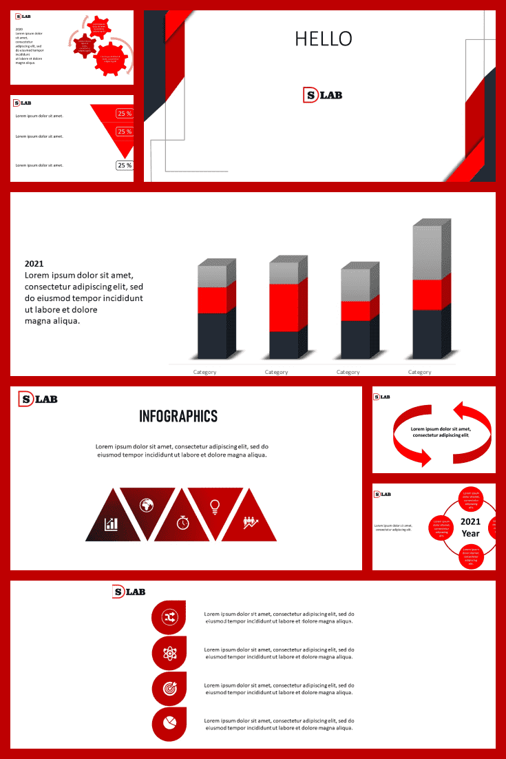 Red, white, black. Almost a classic, if not for the modern infographic elements. With a template like this, your audience won't get bored.