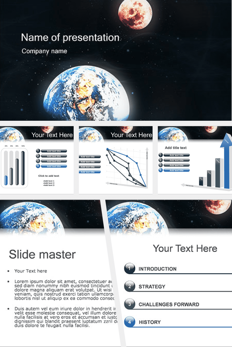 Stylish theme with the image of the planet Earth. All your material can be schematized and presented in a simplified form.