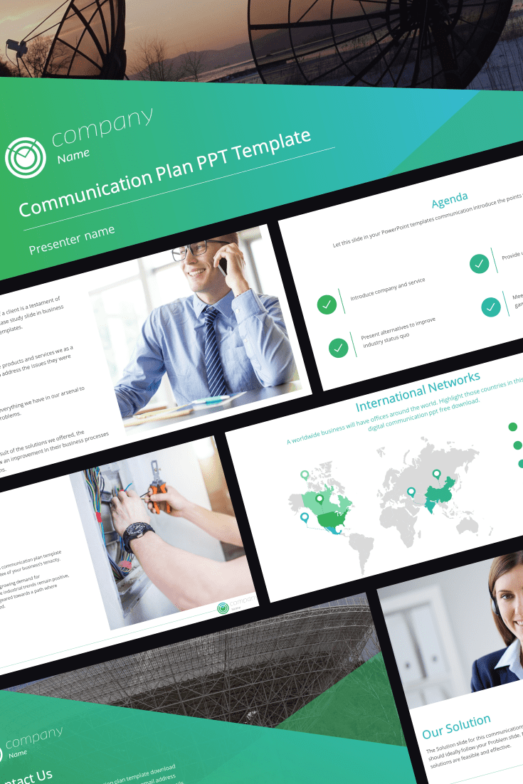 The template is mostly made in green. It does not stand out with bright accents and colors, so it is perfect for a business presentation.
