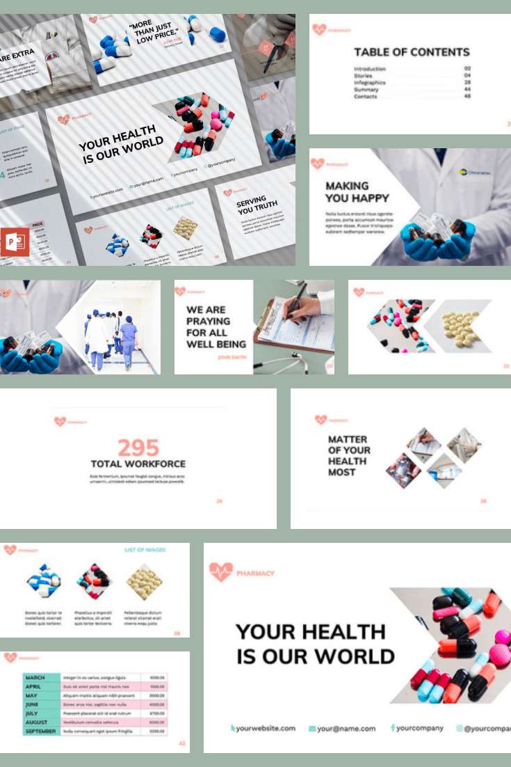 Delicate design with shades of sage will add a special ambiance to your presentation. You can add infographics, text, pictures - everything will be relevant here.