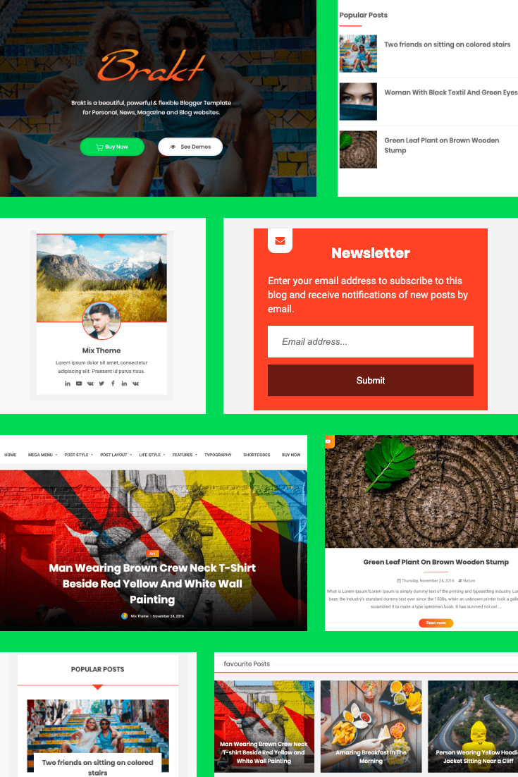 Bright and Brazilian color pattern. Multifunctional and user-friendly for a variety of topics.