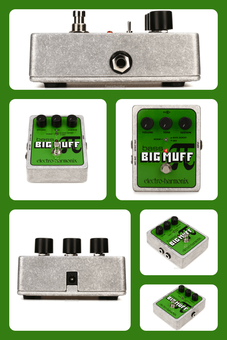 TThe Bass Big Muff Pi creates tones similar to the classic fuzz sounds of the battle-tank green Sovtek Big Muff Pi and the legendary Electro-Harmonix Big Muff Pi from the '70s.