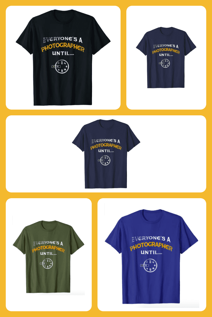 Bright men's T-shirts with themed inscriptions.