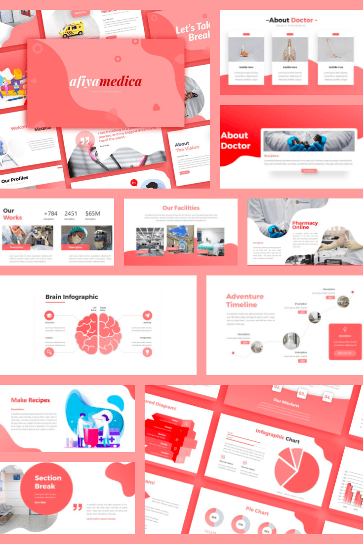 Medicine can be different and this template is proof of that. Pink background, soft shapes. This theme is cute and will fit any theme.