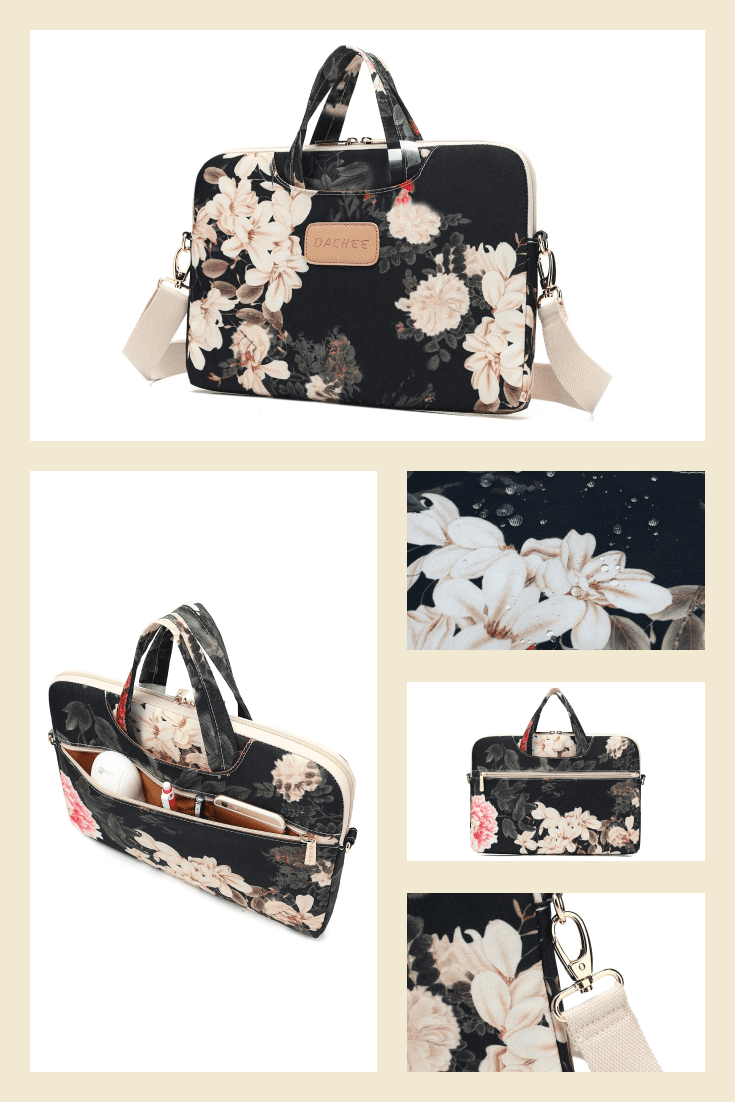 Laptop bag. It is decorated with peonies and delicate flowers.