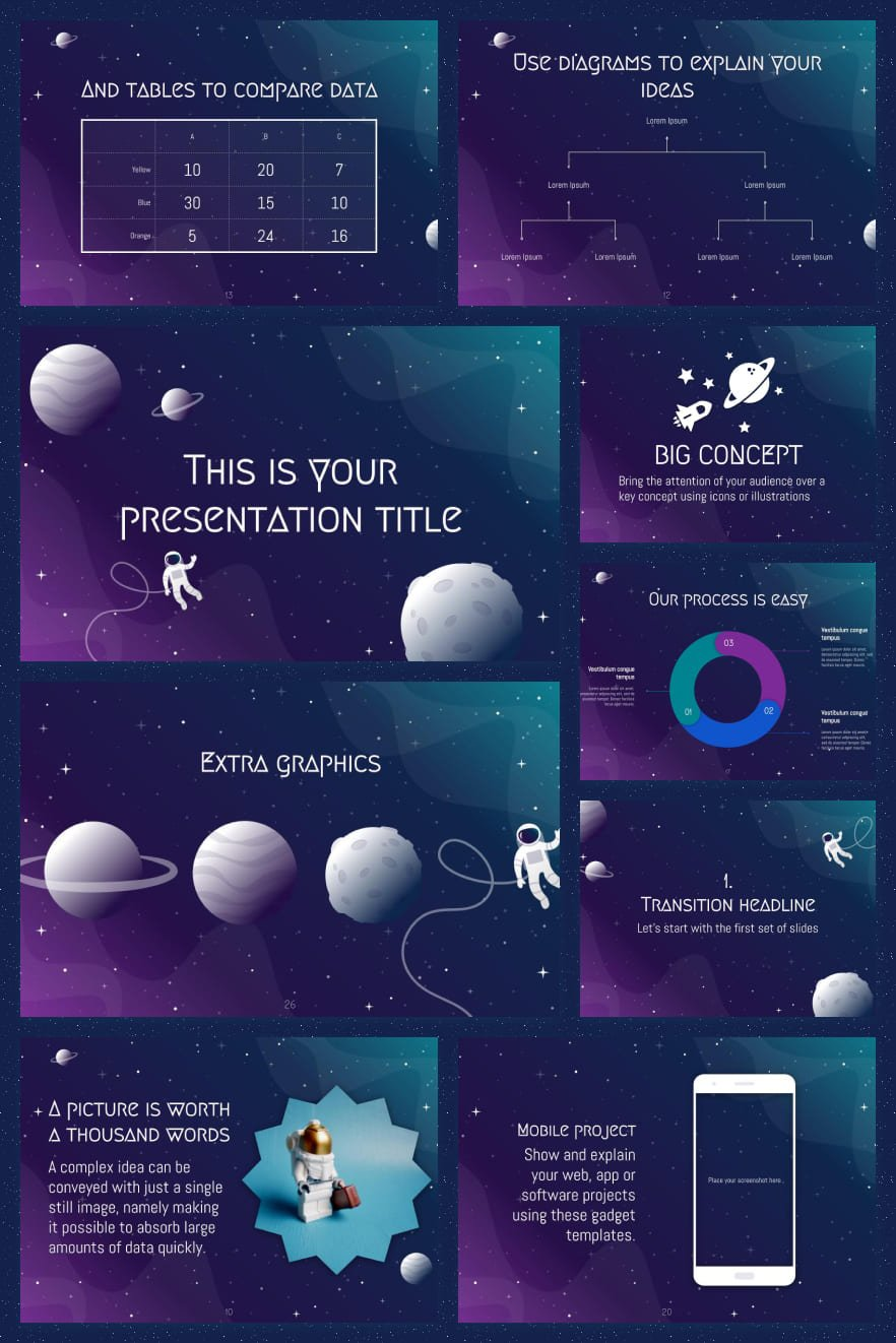 Deep purple and blue create a mysterious template palette. The space theme is relevant and fresh. You always want to learn about her as much as possible. And with a flexible design, you can customize the highlights in your style.