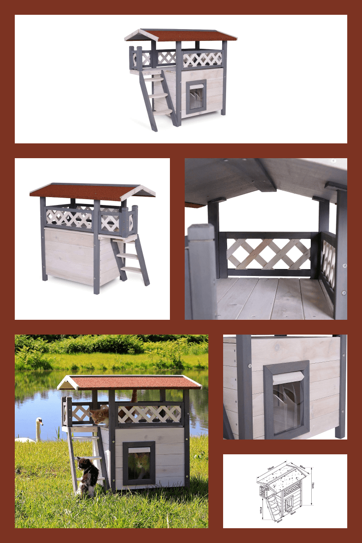 Pet house with two floors. It can be kept both indoors and outdoors.